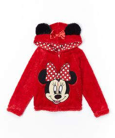 Look what I found on #zulily! Red Minnie Mouse Plush Zip-Up Hoodie - Girls by Minnie Mouse #zulilyfinds
