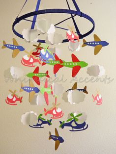 Airplane, Helicopter and Cloud Baby Mobile in Red and Blue by whimsicalaccents