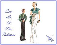Retro 1930s Butterick 6410 Surplice Cap Sleeve Evening Dress