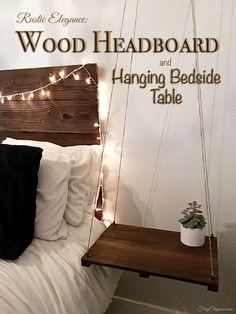 Rustic Headboard & Hanging Side Table | FrugElegance | www.frugelegance.com #TriplePFeature