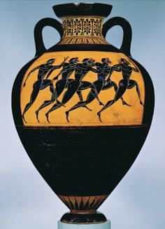 Terracotta Panathenaic prize amphora (storage vessel)  Attic, black-figure, ca. 530 BCE Attributed to the Euphiletos Painter. Obverse,  Athena; reverse, footrace. H. 62.2 cm). The Metropolitan Museum of Art. Rogers Fund, 1914 (Location:The Mary and Michael Jaharis Gallery)