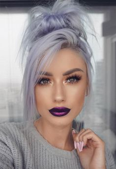 17 Best Purple Lipstick Shades for the Born to the Purple Make-up Lila Lippen M. 17 Best Purple Lipstick Shades for the Born to the Purple Make-up Lila Lippen M. 17 Best Purple Lipstick Shades for Winter Hairstyles, Pretty Hairstyles, Grey Hairstyle, Scene Hairstyles, Fashion Hairstyles, Hairstyles 2018, Weave Hairstyles, Hairstyle Ideas, Wedding Hairstyles