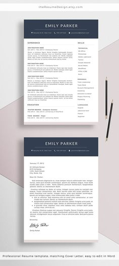 Our NEW #professional #Resume #Template + Cover Letter for…