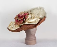 Edwardian Clothing at Vintage Textile: #7363 wide brim hat - Wide-brim straw hat, c.1900-1910