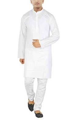 5b76eb1cffd JBN Creation Royal Kurta Men s Cotton White Kurta Pyajama (Size  40) White  Kurta