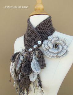 Linen Flower Scarflette by gsakowskidesigns on Etsy Crochet Cowl Free Pattern, Crochet Hood, Crochet Motifs, Freeform Crochet, Crochet Shawl, Knit Crochet, Crochet Patterns, Free Crochet, Crochet Flower Scarf