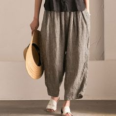 Irregular Women Lattice Loose Linen Cotton Long Pants
