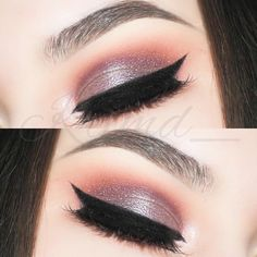 """Plum Purple Shimmer Eye - Shadows: @anastasiabeverlyhills Soft Peach, Caramel, Red Earth, Beauty Mark. @bhcosmetics Party Girl palette. @makeupaddictioncosmetics """"Purest"""" and @glamourdolleyes """"Bruised"""" pigments.  Liner: Crème Color in Jet.  Brows: Medium Brown Brow Wiz. #eye #makeup #eyeshadow"""