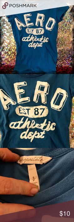 Aeropostale Blue T-Shirt SM Nice soft Blue Aero T-shirt - Size Sm Pre-owned - Great Condition; No visual imperfections Smoke-Free home.   Materal: 100% Cotton Questions Welcome 😊 😊Thank you for browsing my closet and have a good day!❤  ***************************************************** 💖 bundle & save 🌀 OFFERS WELCOME 📦 fast shipping Aeropostale Tops Tees - Short Sleeve