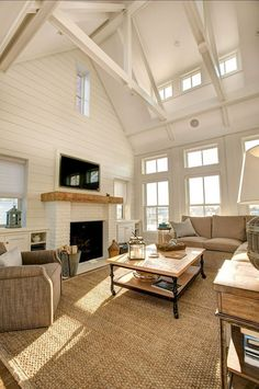Beach house - neutral living room with subtle coastal decor House Design, House, Transitional Living Rooms, Home, House Styles, Luxury Homes, House Interior, Coastal Living Rooms, Neutral Living Room