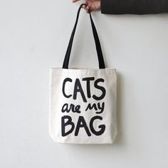 Cat tote bag  CATS are my BAG Tote typographic print door Xenotees, $15.00