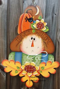Harvest Welcome Scarecrow , Wall Hanging, Fall, Autumn,Seasonal, Home decor, Holidays
