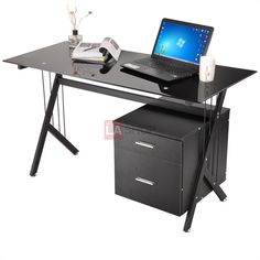 Black Metal & Tempered Glass Top Computer Desk 2 Drawers