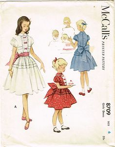 1950s Vintage McCalls Sewing Pattern 8709 Toddler Girls Tucked Party Dress Sz 6