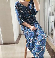 2016 New Summer Sexy V-Neck Red Flower Print Dress Women Elegant Cotton Casual Dress Vestidos Women High Waist Long Dress -- Continue to the product at the image link.