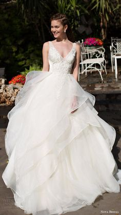 noya bridal 2016 sleeveless straps vneck aline ball gown wedding dress / http://www.himisspuff.com/v-neck-wedding-dresses/4/
