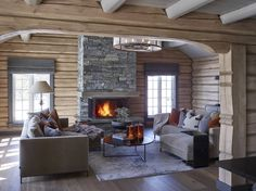 When I see a chalet space I'm just like 'Leave me here for the whole winter! Chalet Interior, Home Interior, Casa Top, Decor Scandinavian, Log Home Decorating, Log Cabin Homes, Cabin Interiors, Cabins And Cottages, Wooden House