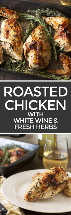 Roasted Chicken with White Wine & Fresh Herbs | cakenknife.com