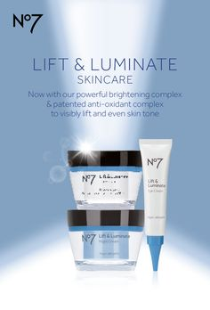 Your skin's future has never looked brighter. Discover the new and improved No7 Lift & Luminate anti-aging skincare collection, available at @ultabeauty, @walgreens  and @Target stores nationwide. No7 Lift & Luminate Day Cream: $22.99 No7 Lift & Luminate Night Cream: $24.99 No7 Lift & Luminate Eye Cream: $21.99