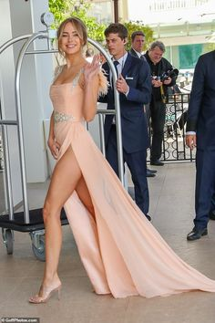 Kimberley Garner catches the eye in feathered peach gown as she leaves her hotel in Cannes Great Legs, Beautiful Legs, Gorgeous Women, Sexy Outfits, Sexy Dresses, Dress Outfits, Peach Gown, Kimberley Garner, Sexy Legs And Heels