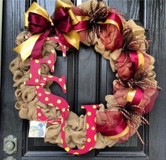 FSU // Florida State University Burlap Wreath// Garnet // Gold on Etsy, $110.00 #home #decor