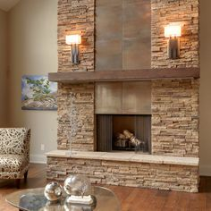 Stacked stone with copper insets and copper beams.  Mounted lights look great.