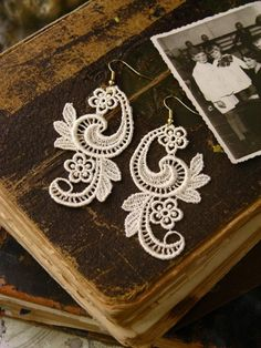 Tristan Lace Earrings in Ivory by WhiteOwl on Etsy