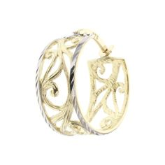 Buy our Australian made 9ct yellow & white gold filigree hoop earring - PAIR - GM-EAR130 online. Explore our range of custom made chain jewellery, rings, pendants, earrings and charms.