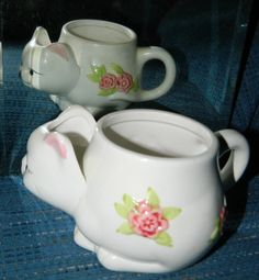 A Vintage Little Kitty Cat Mug~w/a Cute Little Kitty Face on One Side~The Tail as the Handle on the Other Side~Pink Floral & Uniquely Shaped