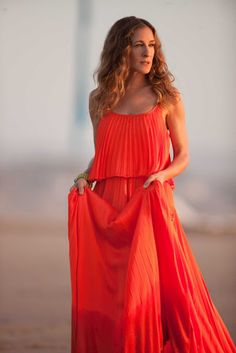 Long orange dress outfit :sex and the city: carrie bradshaw style