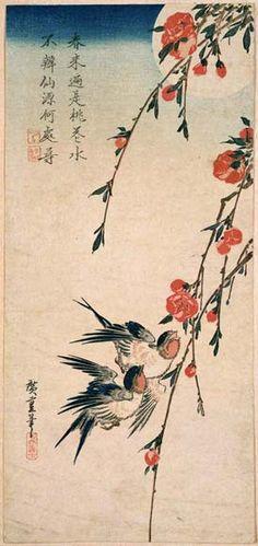 Flying Swallows under Peach Blossoms in the Moonlight Gekka Tsuki ni Tsubame to Momo no Hana 1832-34