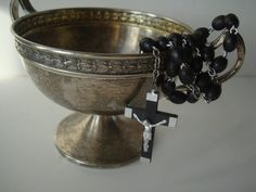 antique rosaries | Vintage Antique Rosary Catholic Black Beads and Silver with Cross