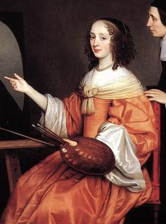 Margareta Maria de Roodere wears a salmon-colored gown. A sheer scarf is knotted into a collar around her shoulders, and her white sleeve linings are fastened back with a covered button, 1652.