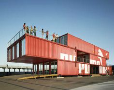 The 11,000 sf retail installation was designed by LOT-EK and uses three levels of forty-foot containers stacked four units wide to create an incredibly dynamic design.