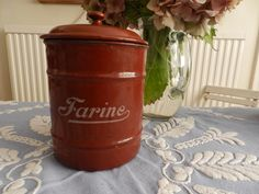 Vintage French Kitchen - Rare and Collectable - French Vintage Enamel  - Brown…