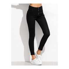 SheIn(sheinside) Black Single Breasted Skinny Ankle Jeans ($20) ❤ liked on Polyvore featuring jeans, pants, bottoms, black, super stretch jeans, super skinny ankle jeans, button fly jeans, skinny leg jeans and long length jeans