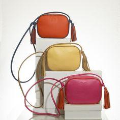 Bright summer colours for crossbody tassled bags Leather Crossbody Bag, Leather Handbags, Summer Colours, Dust Bag, Shoulder Strap, Coast, Bright, Mini, Summer Colors