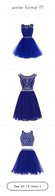 """winter formal ❄︎"" by summerbarnesofficial ❤ liked on Polyvore featuring dresses, short beaded cocktail dresses, short dresses, short beaded dress, short prom dresses, cocktail prom dress, short cocktail prom dresses, blue prom dresses, chiffon cocktail dresses and short blue dresses"