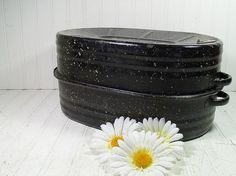 Vintage Black Graniteware OverSized Lisk Roasting by DivineOrders, $27.00