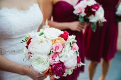 Ivory, White, Raspberry, Peach, and Coral hues for a beautiful spring wedding bouquet. #studioag #studioagdesign Photo by Chrystl Photography https://www.facebook.com/pages/Chrystl-Roberge-Photography/288874037811836?fref=ts