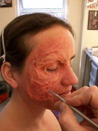 Burn Make up, being applied