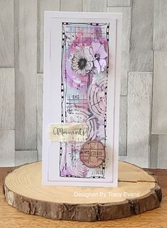 """Today I am showcasing a mixed media card using my newly released Border Stamp """"Flower Moments"""" from AALLandCreate . Mixed Media Cards, White Acrylic Paint, Stencil Designs, Card Designs, The 5th Of November, Card Maker, Distress Ink, Cardmaking, Paper Crafts"""