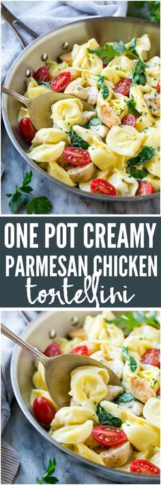 One Pot Creamy Parmesan Chicken Tortellini
