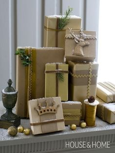 Instead of placing gifts under the tree, display and stack several on a tabletop or a shelf.