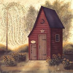 She hid away in her shed all day and potted her plants....    ~ art by Pam Britton