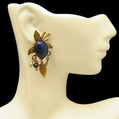 Faux Lapis Blue Stone Southwestern Post Earrings from #MyClassicJewelry - These #vintage earrings are sure to stand out!