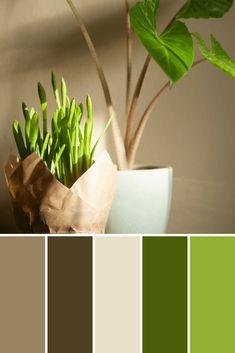 Color Palettes: Potted Plants - This Growing Home Green Color Pallete, Earth Colour Palette, Spring Color Palette, Green Color Schemes, Color Palate, Modern Color Palette, Colour Combinations Interior, Bathroom Color Schemes, Paint Schemes