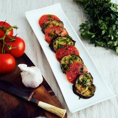 """Serving marinated eggplant and tomatoes on the Metalcraft curved edge serving platter."" -Victor S. from ifoodblogger.com"
