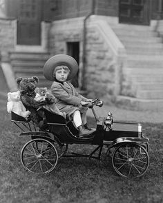+~+~ Antique Photograph ~+~+  Doesn't he look all proud driving around the bears in his toy car!  Master William Cornelius Covenhoven Van Horne. Montreal 1910.