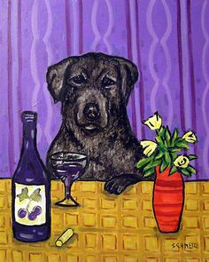 BLACK LABRADOR WINE BAR picture animal dog art Mug 11oz gift